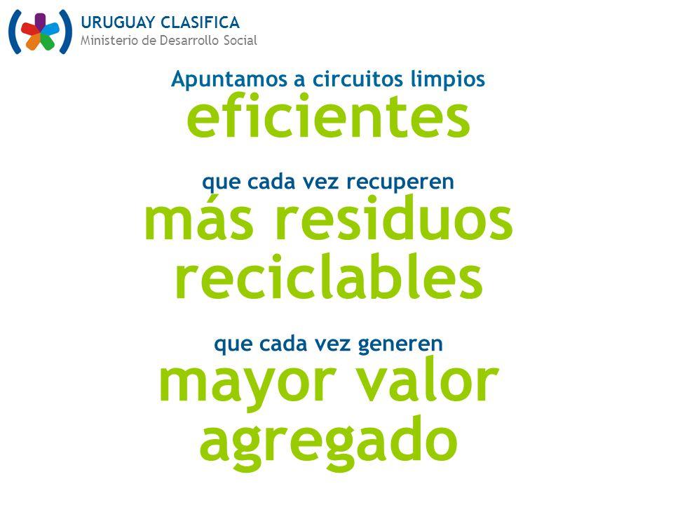 URUGUAY CLASIFICA Ministerio de Desarrollo Social Apuntamos a circuitos limpios eficientes que cada vez recuperen más residuos reciclables que cada vez generen mayor valor agregado