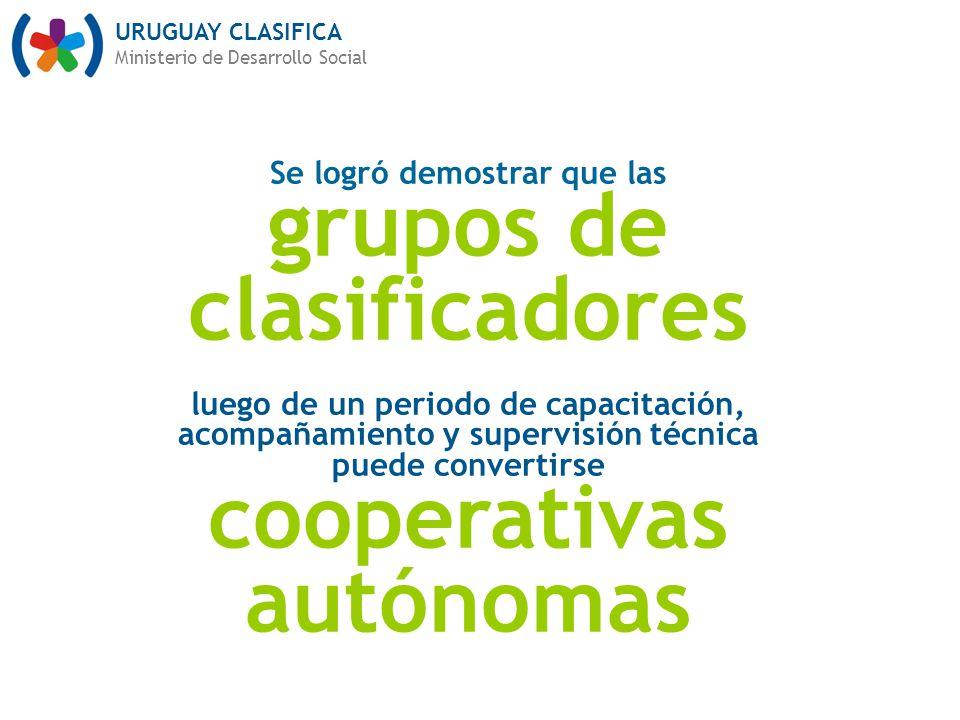 URUGUAY CLASIFICA Ministerio de Desarrollo Social Se logró demostrar que las grupos de clasificadores luego de un periodo de capacitación, acompañamiento y supervisión técnica puede convertirse cooperativas autónomas