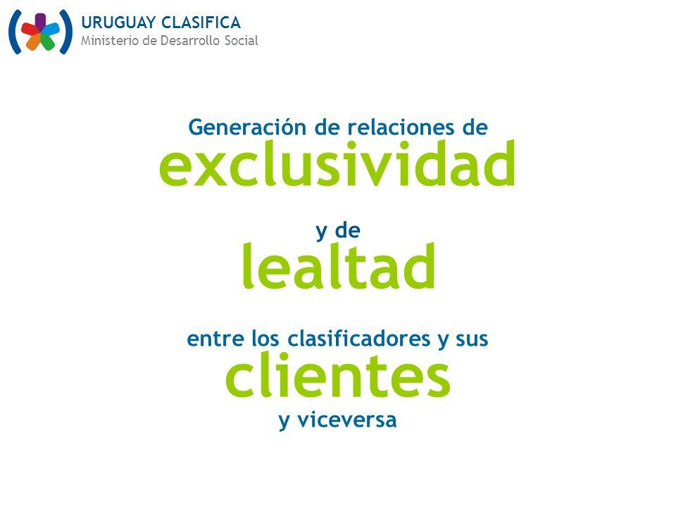URUGUAY CLASIFICA Ministerio de Desarrollo Social Generación de relaciones de exclusividad y de lealtad entre los clasificadores y sus clientes y vice