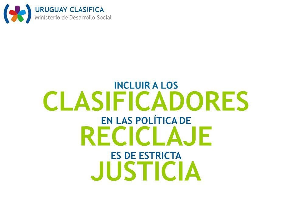 URUGUAY CLASIFICA Ministerio de Desarrollo Social INCLUIR A LOS CLASIFICADORES EN LAS POLÍTICA DE RECICLAJE ES DE ESTRICTA JUSTICIA