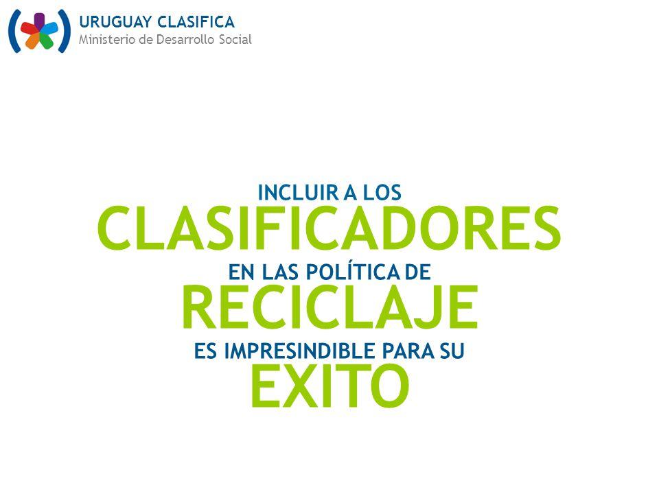 URUGUAY CLASIFICA Ministerio de Desarrollo Social INCLUIR A LOS CLASIFICADORES EN LAS POLÍTICA DE RECICLAJE ES IMPRESINDIBLE PARA SU EXITO