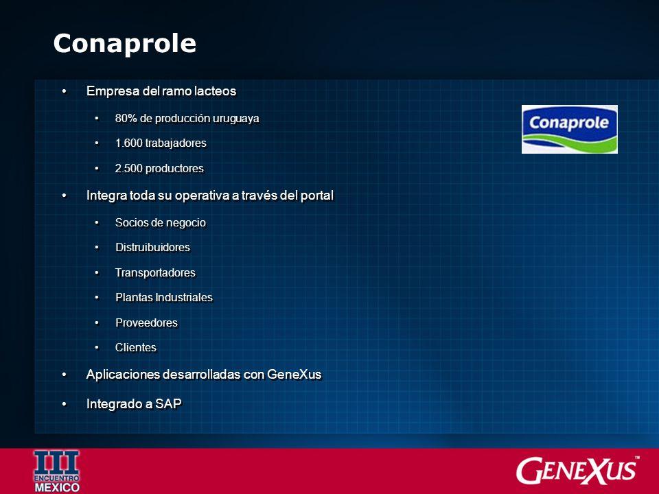 Conaprole Empresa del ramo lacteos 80% de producción uruguaya 1.600 trabajadores 2.500 productores Integra toda su operativa a través del portal Socio