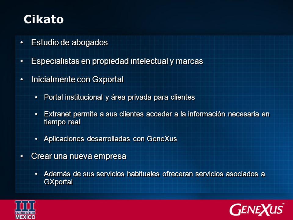 Cikato Estudio de abogados Especialistas en propiedad intelectual y marcas Inicialmente con Gxportal Portal institucional y área privada para clientes