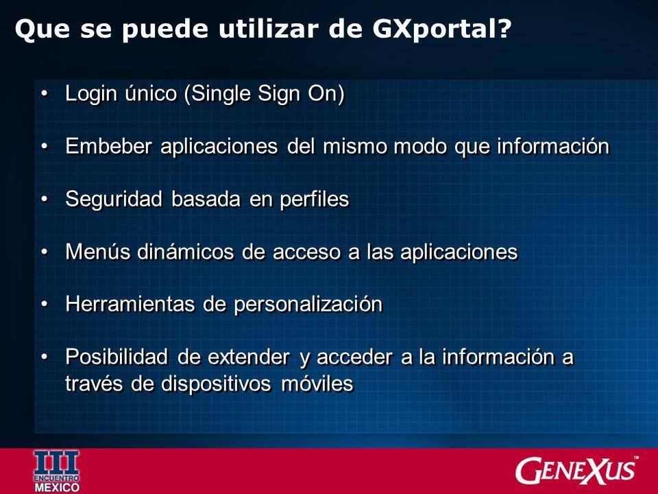 Login único (Single Sign On) Embeber aplicaciones del mismo modo que información Seguridad basada en perfiles Menús dinámicos de acceso a las aplicaci