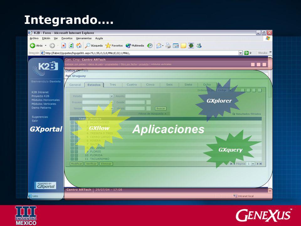 Aplicaciones Integrando…. GXportal GXflow GXplorer GXquery