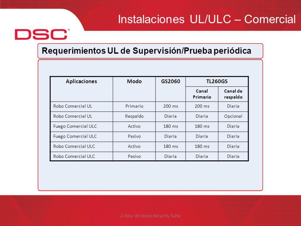 2-Way Wireless Security Suite Instalaciones UL/ULC – Comercial Requerimientos UL de Supervisión/Prueba periódica AplicacionesModoGS2060TL260GS Canal P