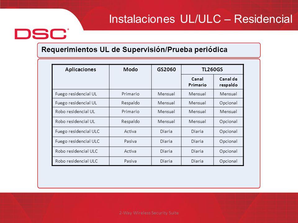 2-Way Wireless Security Suite Instalaciones UL/ULC – Residencial Requerimientos UL de Supervisión/Prueba periódica AplicacionesModoGS2060TL260GS Canal