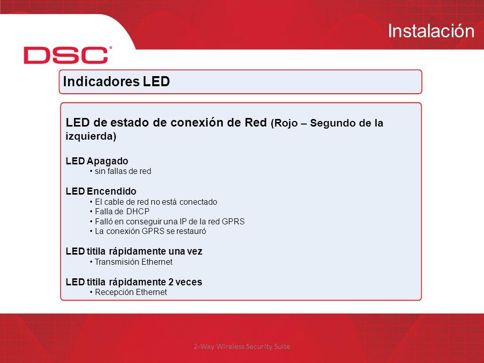 2-Way Wireless Security Suite Instalación Indicadores LED LED de estado de conexión de Red (Rojo – Segundo de la izquierda) LED Apagado sin fallas de