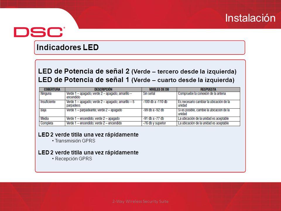 2-Way Wireless Security Suite Instalación Indicadores LED LED de Potencia de señal 2 (Verde – tercero desde la izquierda) LED de Potencia de señal 1 (