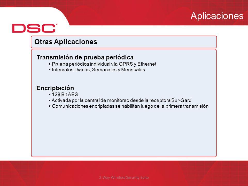 2-Way Wireless Security Suite Aplicaciones Otras Aplicaciones Transmisión de prueba periódica Prueba periódica individual vía GPRS y Ethernet Interval