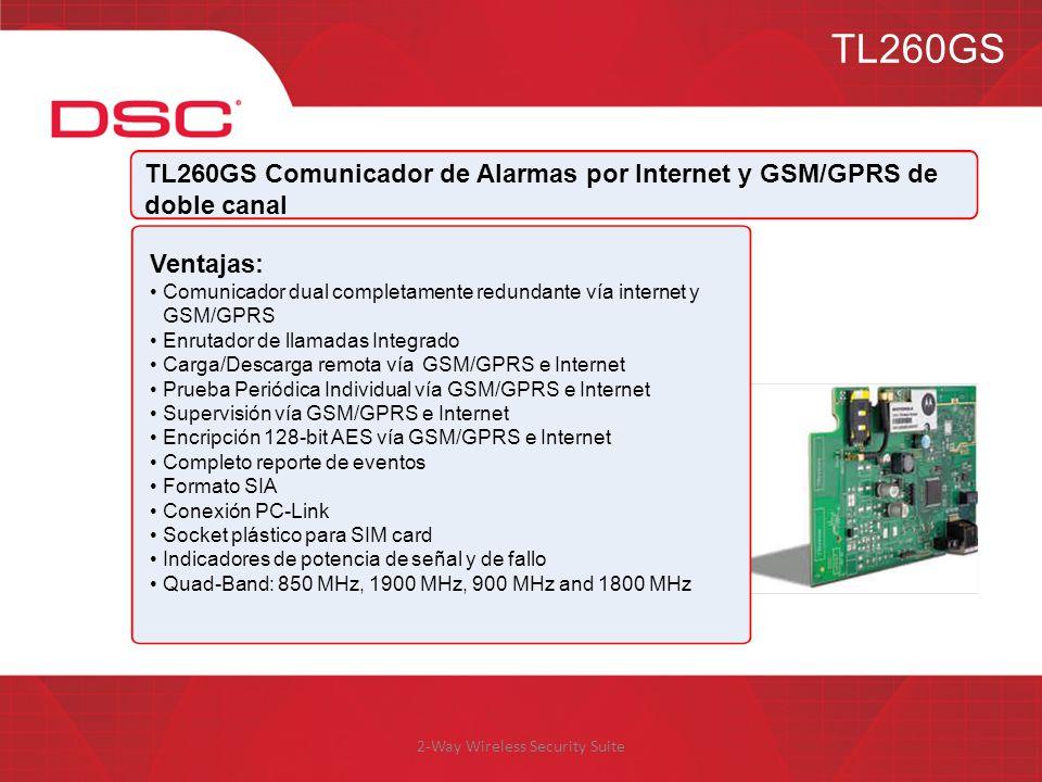 2-Way Wireless Security Suite TL260GS TL260GS Comunicador de Alarmas por Internet y GSM/GPRS de doble canal Ventajas: Comunicador dual completamente r