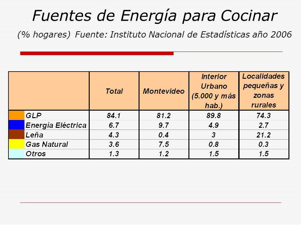 Fuentes de Energía para Cocinar (% hogares) Fuente: Instituto Nacional de Estadísticas año 2006