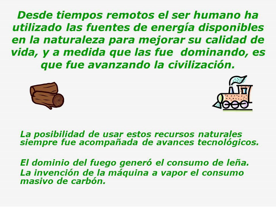 Desde tiempos remotos el ser humano ha utilizado las fuentes de energía disponibles en la naturaleza para mejorar su calidad de vida, y a medida que las fue dominando, es que fue avanzando la civilización.