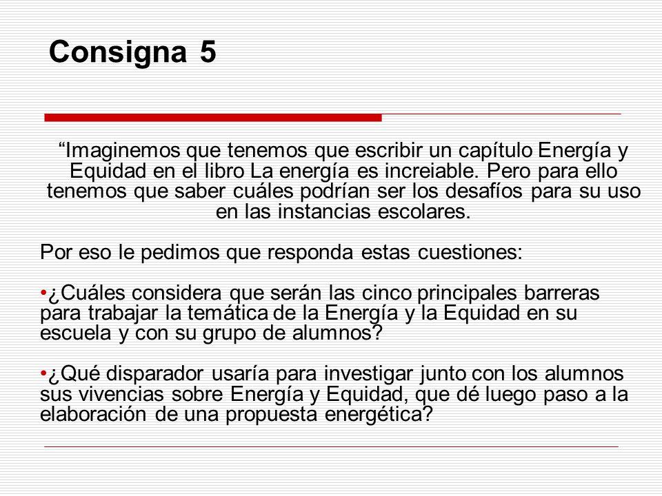 Consigna 5 Imaginemos que tenemos que escribir un capítulo Energía y Equidad en el libro La energía es increiable.