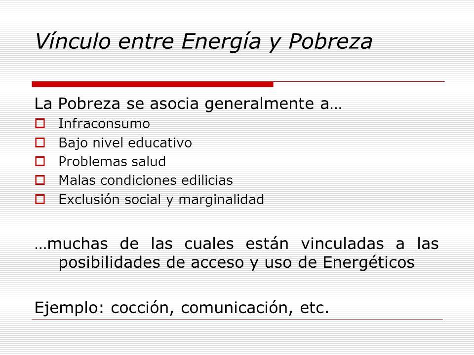 Vínculo entre Energía y Pobreza La Pobreza se asocia generalmente a… Infraconsumo Bajo nivel educativo Problemas salud Malas condiciones edilicias Exclusión social y marginalidad …muchas de las cuales están vinculadas a las posibilidades de acceso y uso de Energéticos Ejemplo: cocción, comunicación, etc.