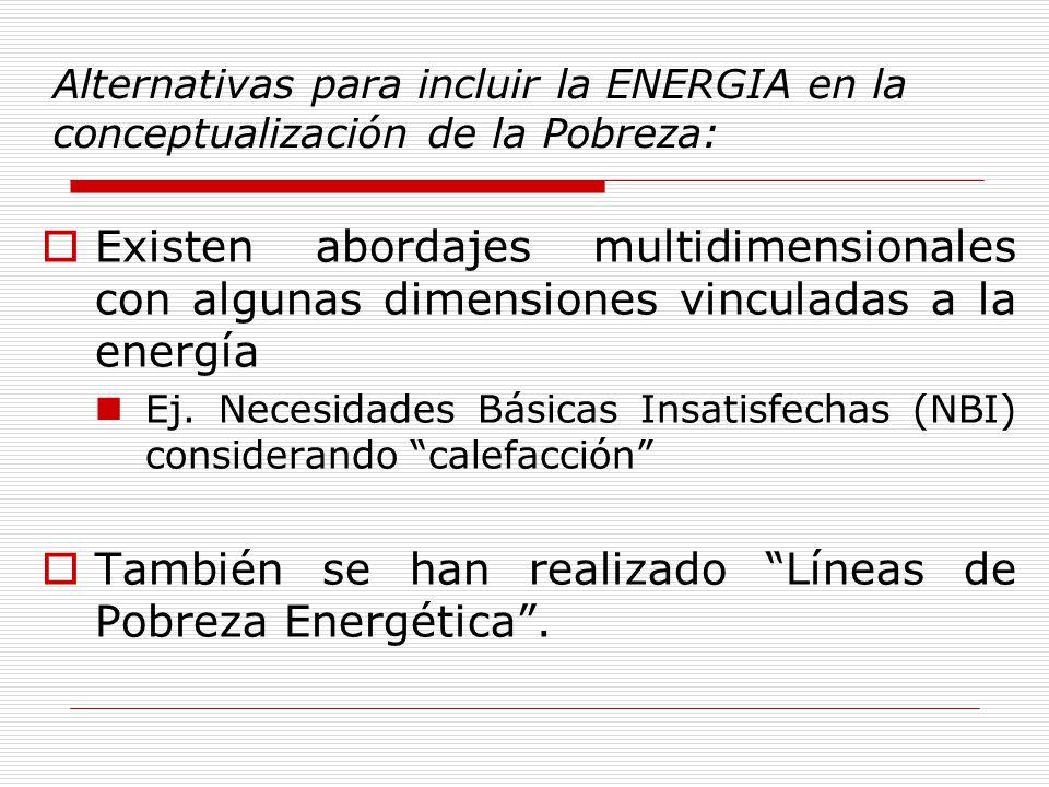 Alternativas para incluir la ENERGIA en la conceptualización de la Pobreza: Existen abordajes multidimensionales con algunas dimensiones vinculadas a la energía Ej.