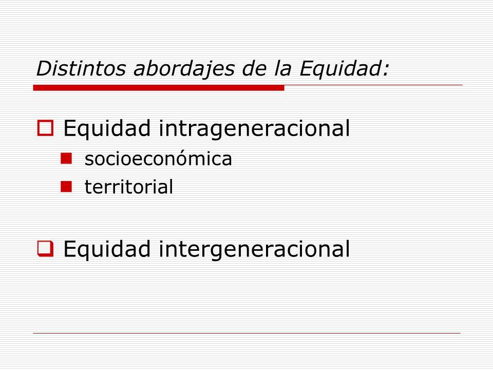 Distintos abordajes de la Equidad: Equidad intrageneracional socioeconómica territorial Equidad intergeneracional