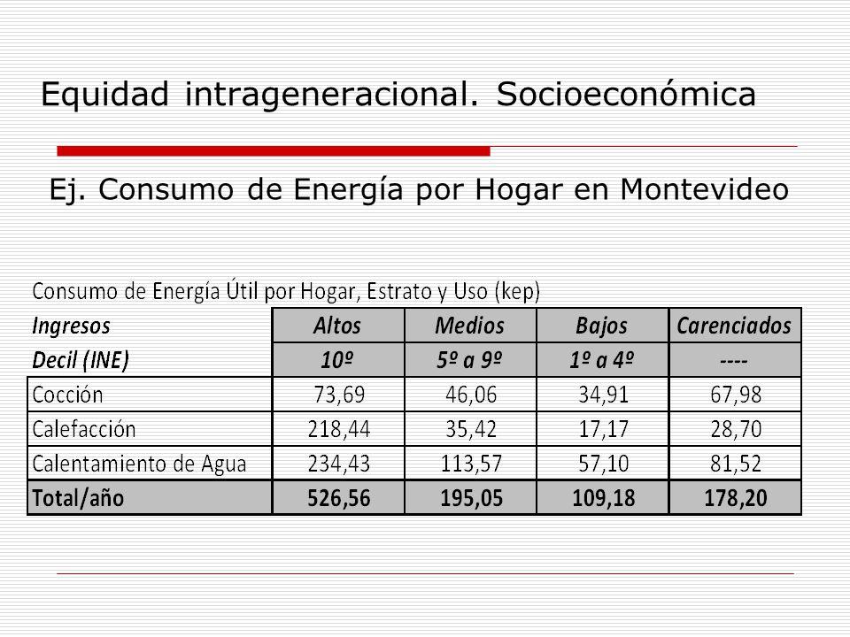 Equidad intrageneracional. Socioeconómica Ej. Consumo de Energía por Hogar en Montevideo