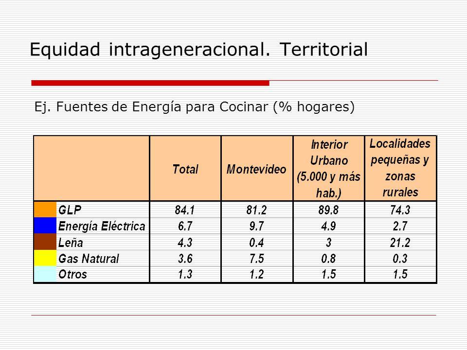 Equidad intrageneracional. Territorial Ej. Fuentes de Energía para Cocinar (% hogares)