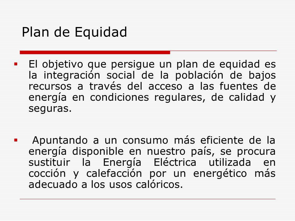 Plan de Equidad El objetivo que persigue un plan de equidad es la integración social de la población de bajos recursos a través del acceso a las fuentes de energía en condiciones regulares, de calidad y seguras.