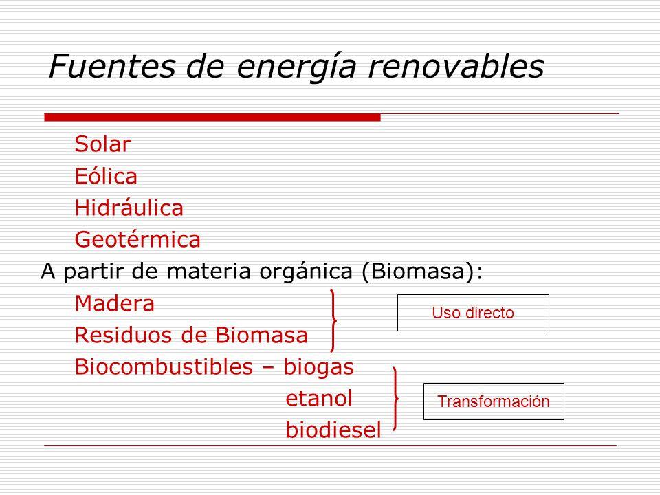 Fuentes de energía renovables Solar Eólica Hidráulica Geotérmica A partir de materia orgánica (Biomasa): Madera Residuos de Biomasa Biocombustibles – biogas etanol biodiesel Uso directo Transformación