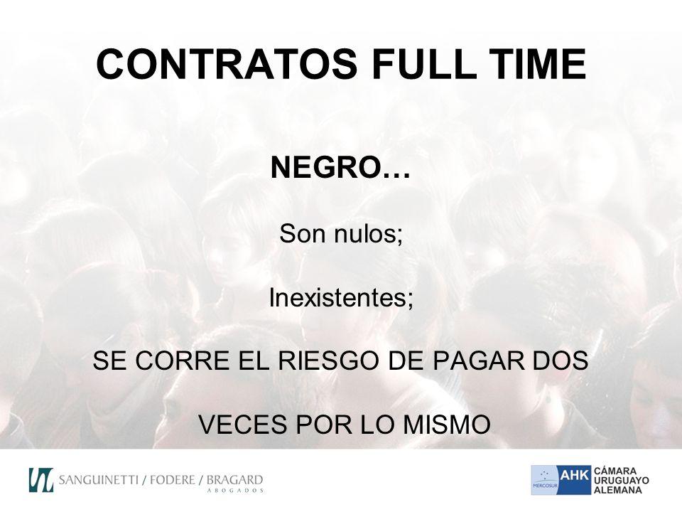 CONTRATOS FULL TIME NEGRO… Son nulos; Inexistentes; SE CORRE EL RIESGO DE PAGAR DOS VECES POR LO MISMO