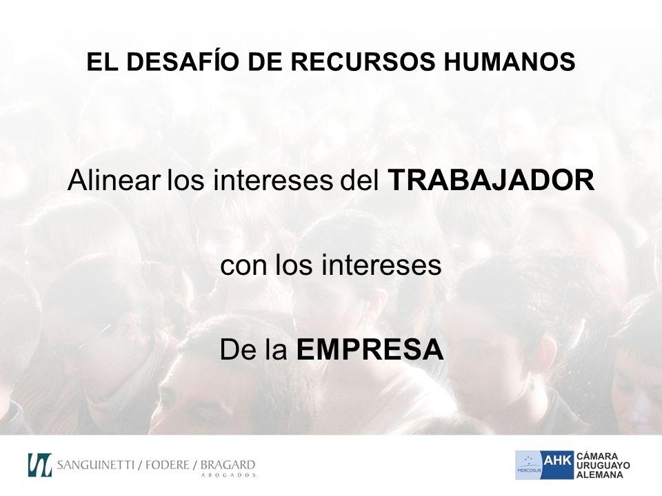 EL DESAFÍO DE RECURSOS HUMANOS Alinear los intereses del TRABAJADOR con los intereses De la EMPRESA