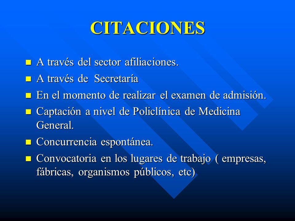 CITACIONES A través del sector afiliaciones. A través del sector afiliaciones. A través de Secretaría A través de Secretaría En el momento de realizar