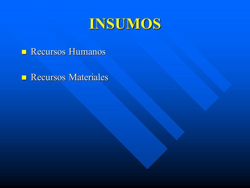 INSUMOS Recursos Humanos Recursos Humanos Recursos Materiales Recursos Materiales