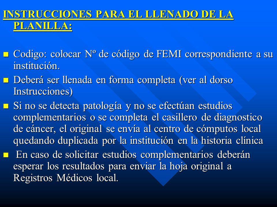 INSTRUCCIONES PARA EL LLENADO DE LA PLANILLA: Codigo: colocar Nº de código de FEMI correspondiente a su institución. Codigo: colocar Nº de código de F