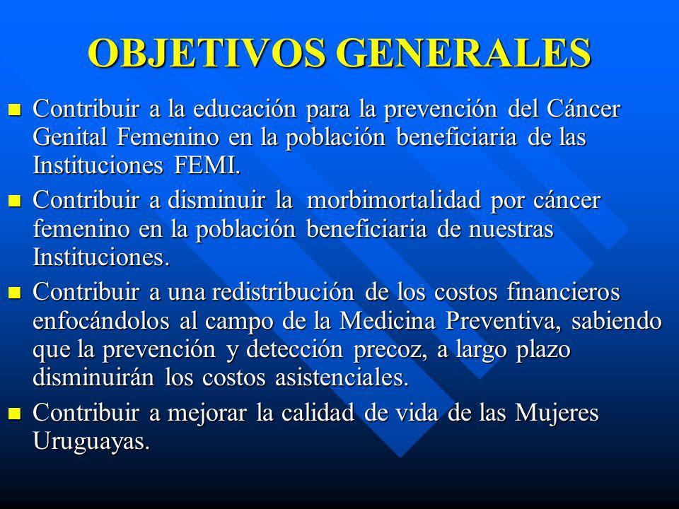 OBJETIVOS GENERALES Contribuir a la educación para la prevención del Cáncer Genital Femenino en la población beneficiaria de las Instituciones FEMI. C