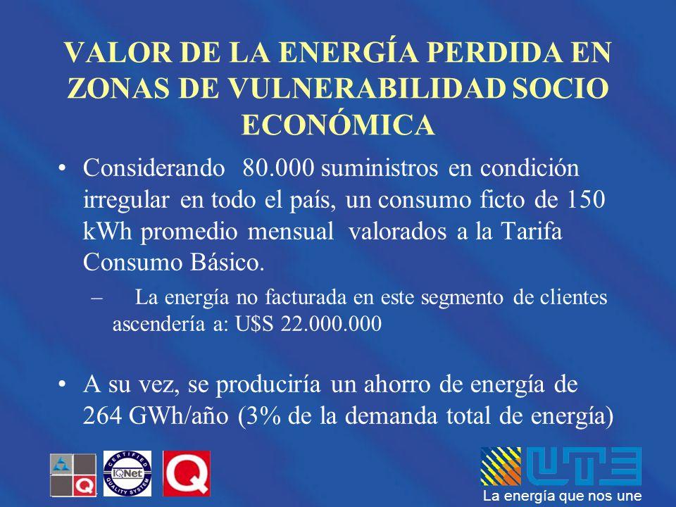 La energía que nos une VALOR DE LA ENERGÍA PERDIDA EN ZONAS DE VULNERABILIDAD SOCIO ECONÓMICA Considerando 80.000 suministros en condición irregular e