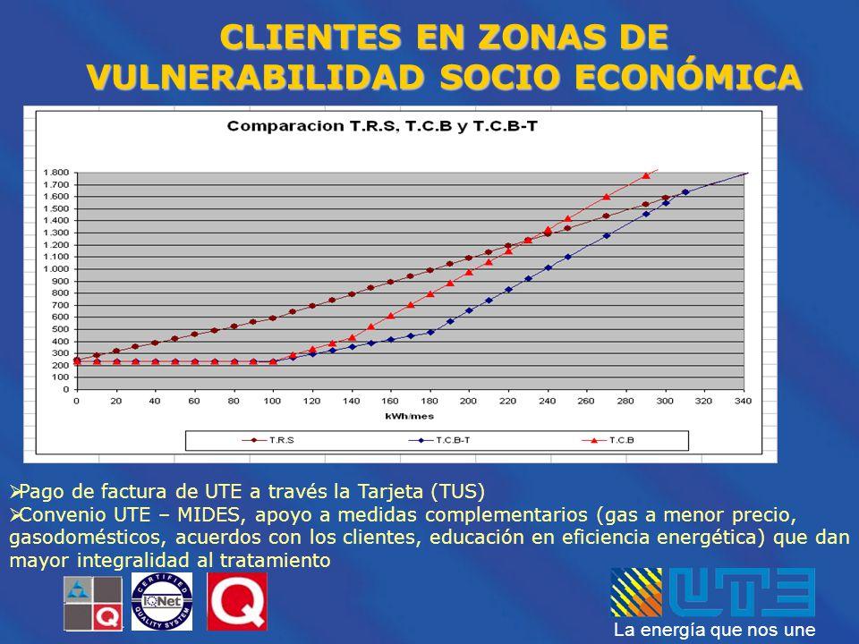 La energía que nos une Pago de factura de UTE a través la Tarjeta (TUS) Convenio UTE – MIDES, apoyo a medidas complementarios (gas a menor precio, gas