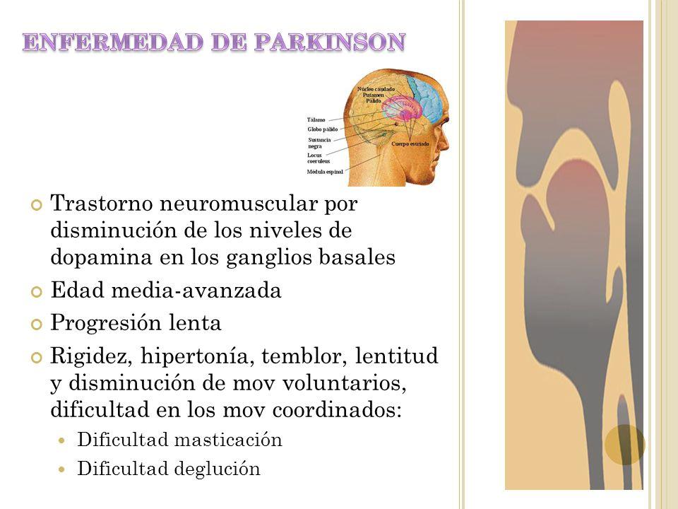 Trastorno neuromuscular por disminución de los niveles de dopamina en los ganglios basales Edad media-avanzada Progresión lenta Rigidez, hipertonía, t