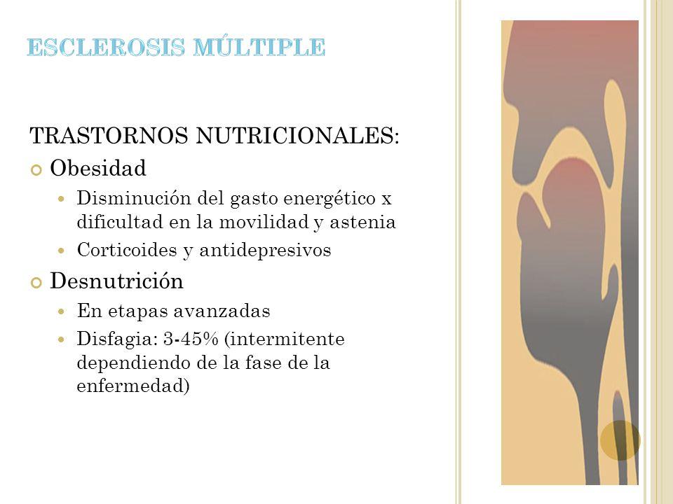 TRASTORNOS NUTRICIONALES: Obesidad Disminución del gasto energético x dificultad en la movilidad y astenia Corticoides y antidepresivos Desnutrición E