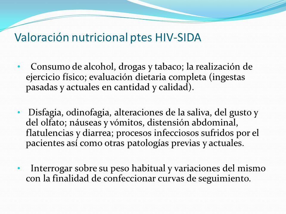 Valoración nutricional ptes HIV-SIDA Consumo de alcohol, drogas y tabaco; la realización de ejercicio físico; evaluación dietaria completa (ingestas p
