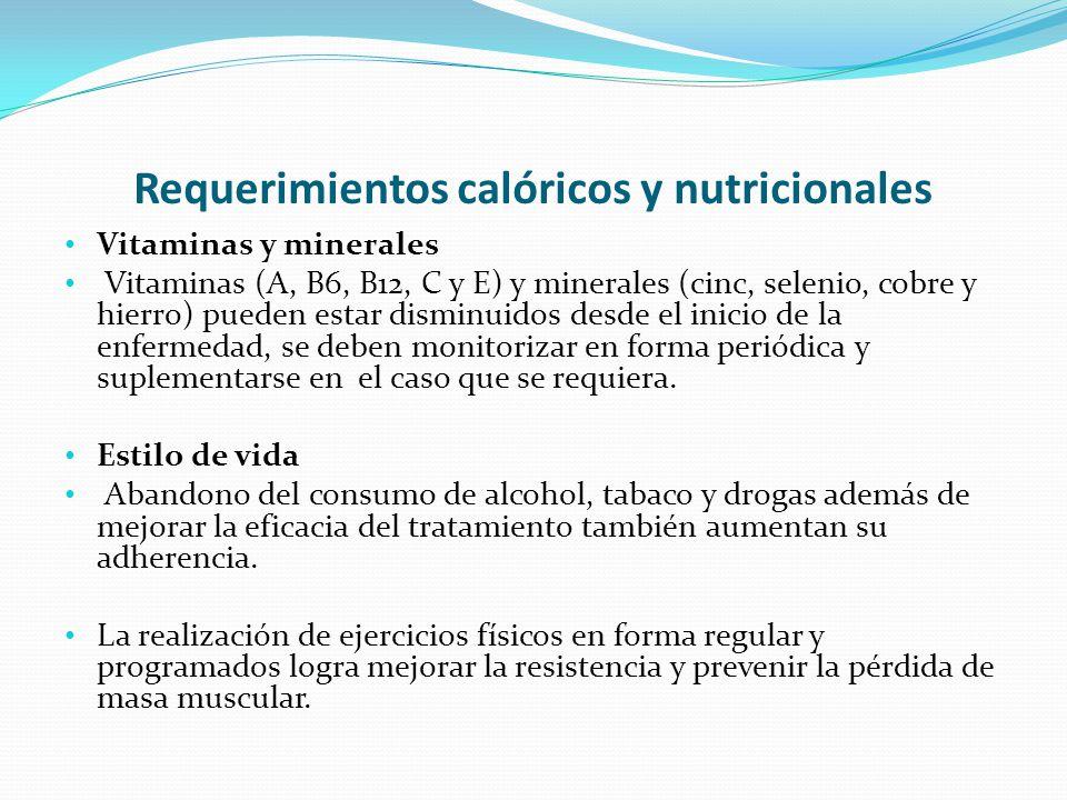 Requerimientos calóricos y nutricionales Vitaminas y minerales Vitaminas (A, B6, B12, C y E) y minerales (cinc, selenio, cobre y hierro) pueden estar