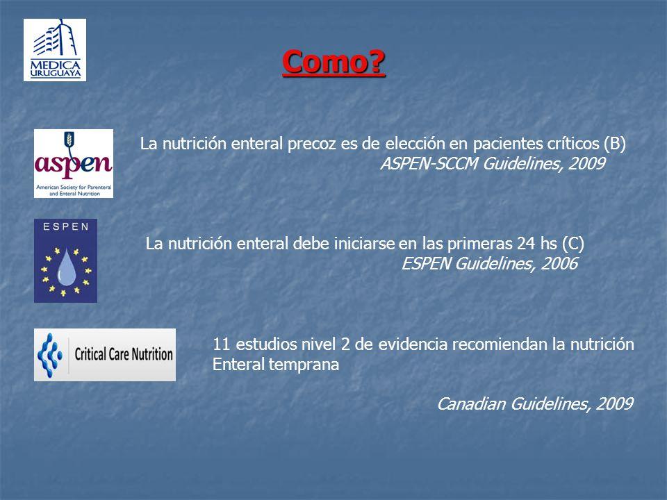 Como? La nutrición enteral precoz es de elección en pacientes críticos (B) ASPEN-SCCM Guidelines, 2009 La nutrición enteral debe iniciarse en las prim