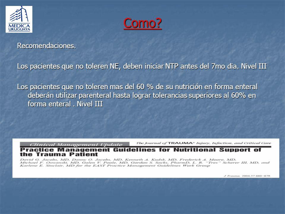 Como? Recomendaciones. Los pacientes que no toleren NE, deben iniciar NTP antes del 7mo dia. Nivel III Los pacientes que no toleren mas del 60 % de su