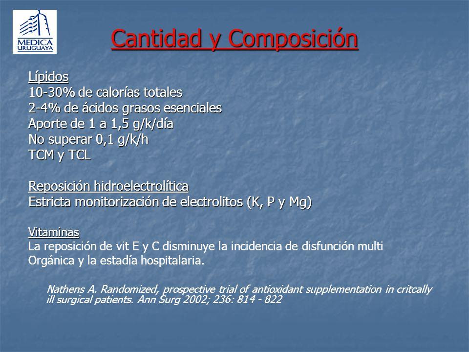 Cantidad y Composición Lípidos 10-30% de calorías totales 2-4% de ácidos grasos esenciales Aporte de 1 a 1,5 g/k/día No superar 0,1 g/k/h TCM y TCL Re