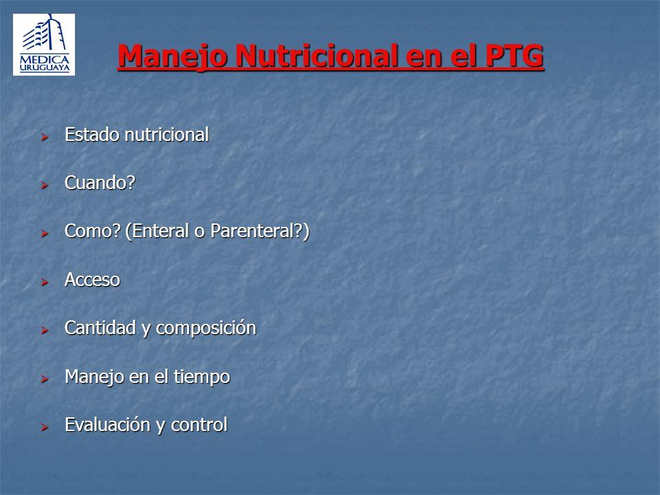 Manejo Nutricional en el PTG Estado nutricional Estado nutricional Cuando? Cuando? Como? (Enteral o Parenteral?) Como? (Enteral o Parenteral?) Acceso