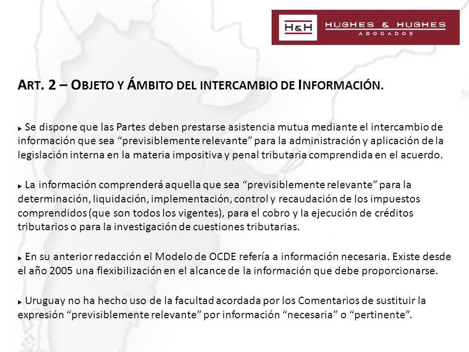 A RT. 2 – O BJETO Y Á MBITO DEL INTERCAMBIO DE I NFORMACIÓN.