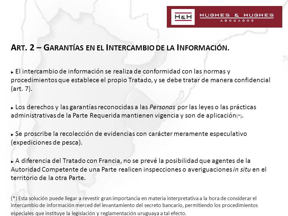 A RT. 2 – G ARANTÍAS EN EL I NTERCAMBIO DE LA I NFORMACIÓN.