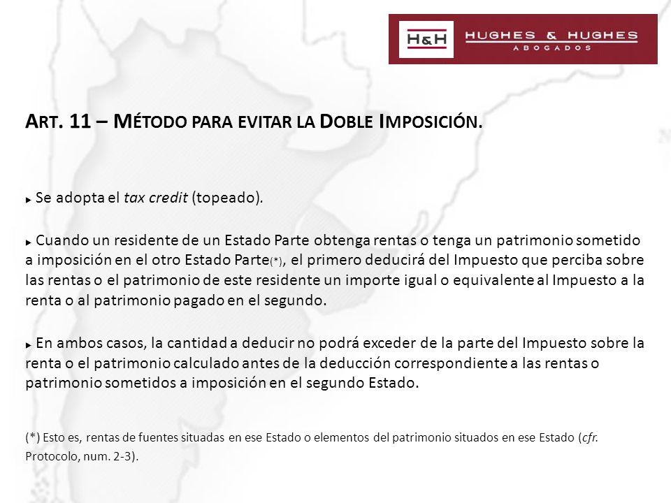 A RT. 11 – M ÉTODO PARA EVITAR LA D OBLE I MPOSICIÓN.