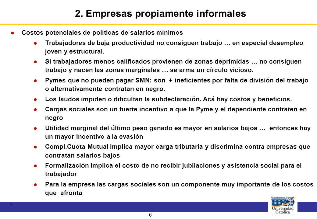 7 Elementos que caracterizan a las empresas evasoras : medianas y grandes, productividad normal, formalmente completas y en principio no tienen limitaciones para su crecimiento.