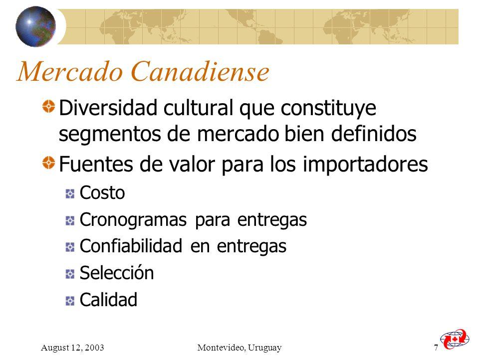 August 12, 2003Montevideo, Uruguay7 Mercado Canadiense Diversidad cultural que constituye segmentos de mercado bien definidos Fuentes de valor para los importadores Costo Cronogramas para entregas Confiabilidad en entregas Selección Calidad