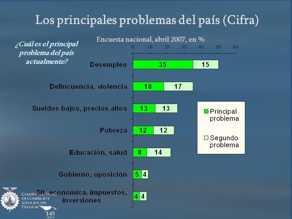 Los principales problemas del país (Cifra) Encuesta nacional, abril 2007, en % ¿Cuál es el principal problema del país actualmente