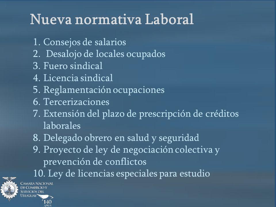 Nueva normativa Laboral 1.Consejos de salarios 2.