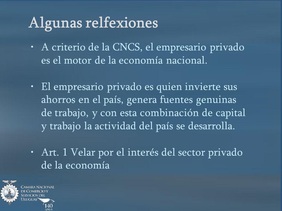 Algunas relfexiones A criterio de la CNCS, el empresario privado es el motor de la economía nacional.