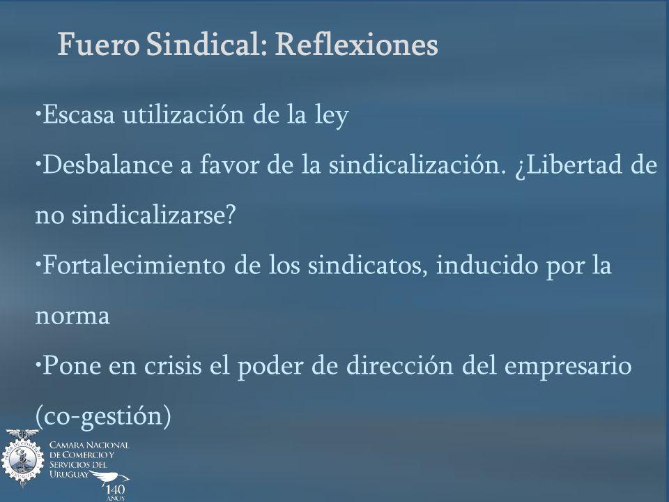 Fuero Sindical: Reflexiones Escasa utilización de la ley Desbalance a favor de la sindicalización.